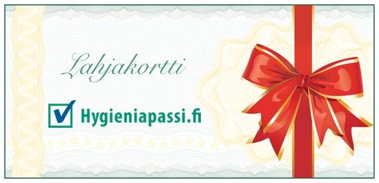 Hygieniapassitestiin oikeuttava lahjakortti